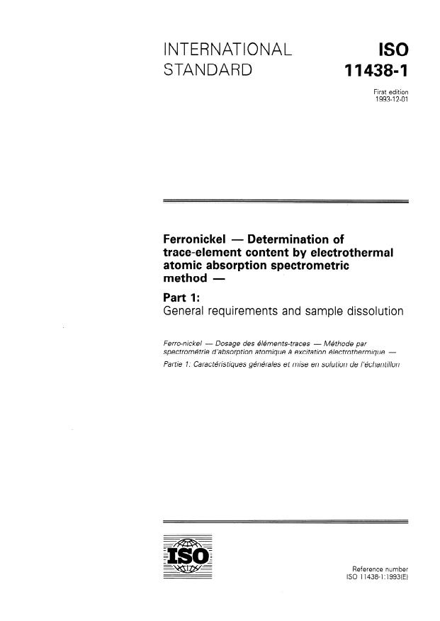 ISO 11438-1:1993 - Ferronickel -- Determination of trace-element content by electrothermal atomic absorption spectrometric method