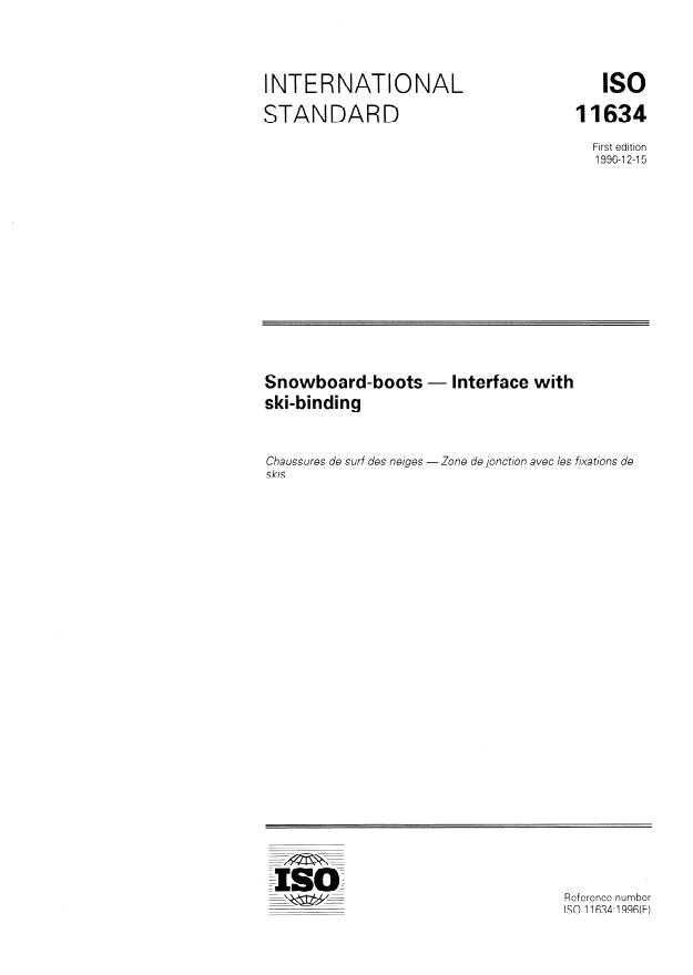 ISO 11634:1996 - Snowboard-boots -- Interface with snowboard bindings