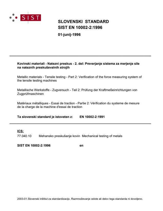 EN 10002-2:1996