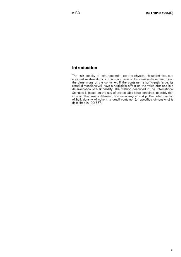 ISO 1013:1995 - Coke -- Determination of bulk density in a large container