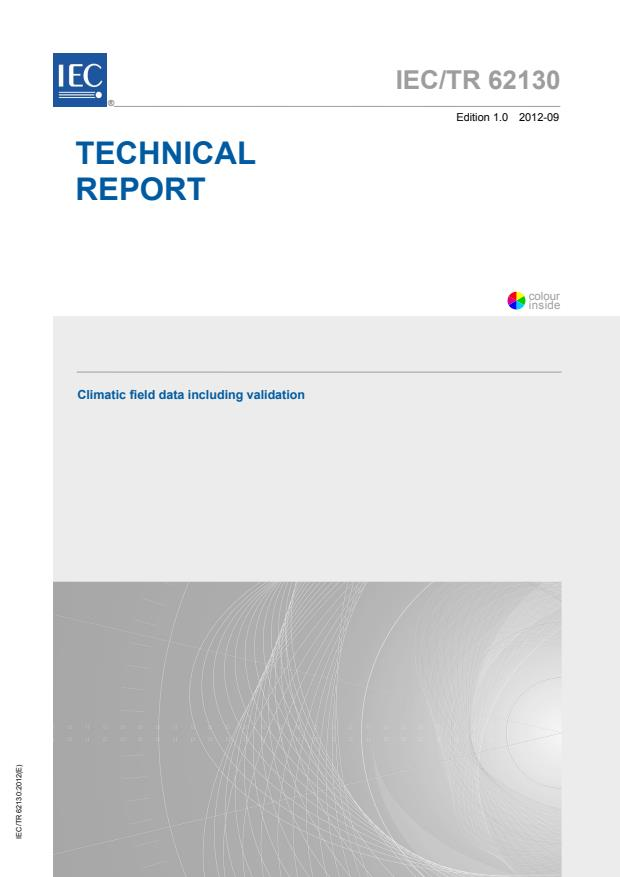 IEC TR 62130:2012 - Climatic field data including validation