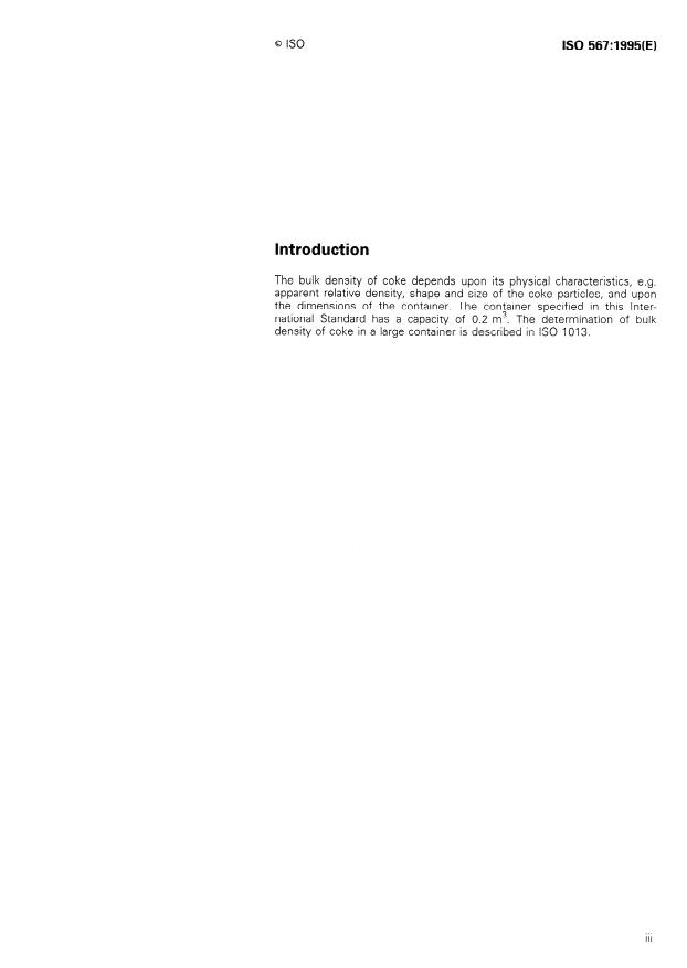 ISO 567:1995 - Coke -- Determination of bulk density in a small container