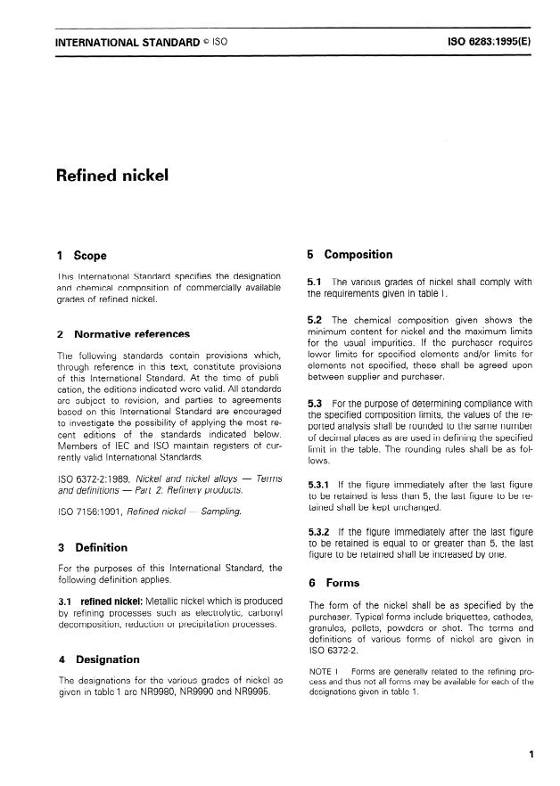 ISO 6283:1995 - Refined nickel