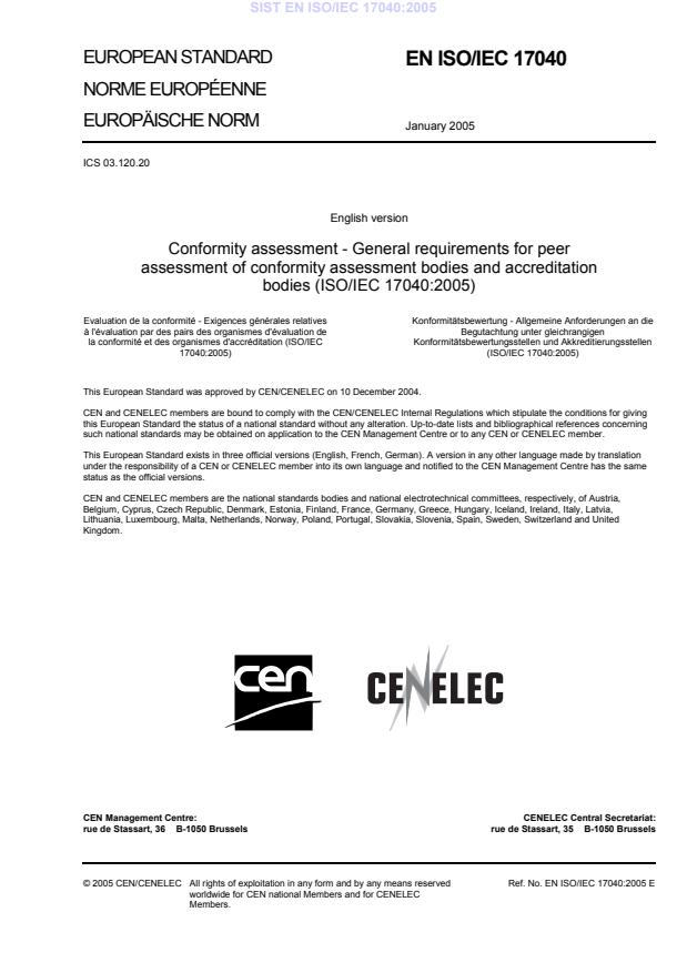 EN ISO/IEC 17040:2005