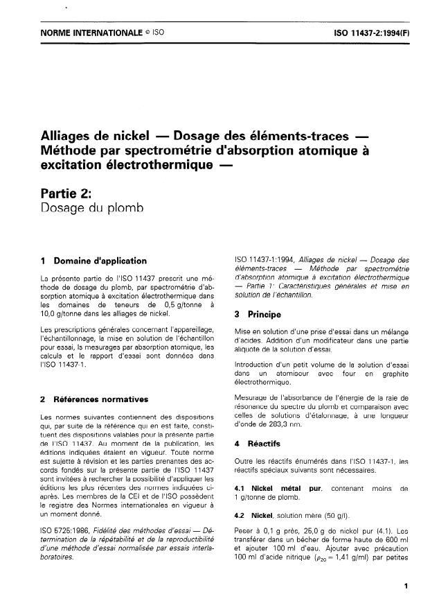 ISO 11437-2:1994 - Alliages de nickel -- Dosage des éléments-traces -- Méthode par spectrométrie d'absorption atomique a excitation électrothermique