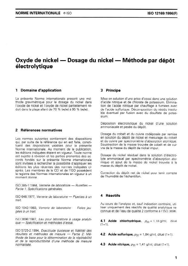 ISO 12169:1996 - Oxyde de nickel -- Dosage du nickel --  Méthode par dépôt électrolytique