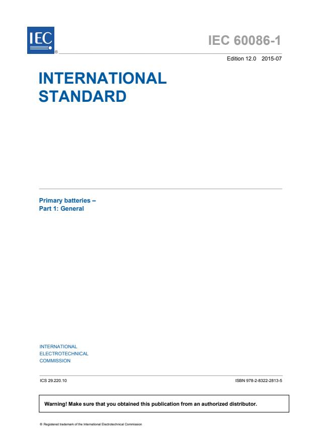 IEC 60086-1:2015 - Primary batteries - Part 1: General