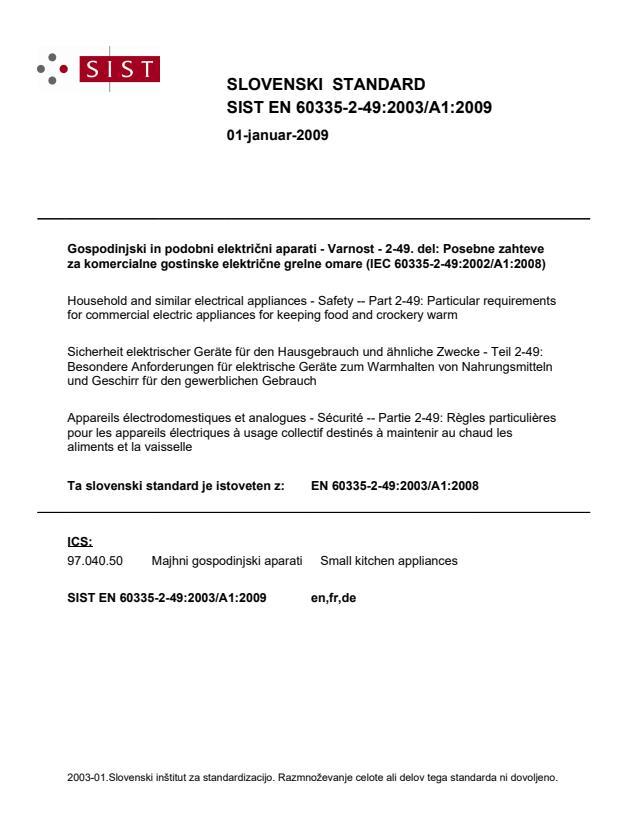 EN 60335-2-49:2003/A1:2009