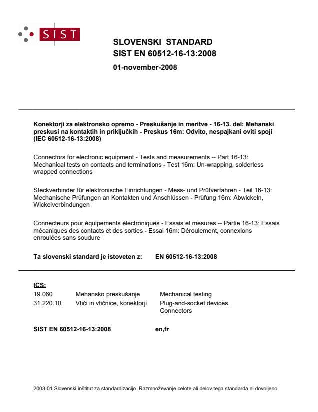 SIST EN 60512-16-13:2008