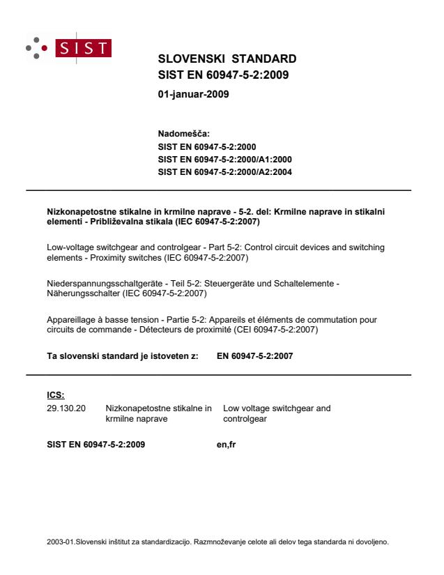 EN 60947-5-2:2009