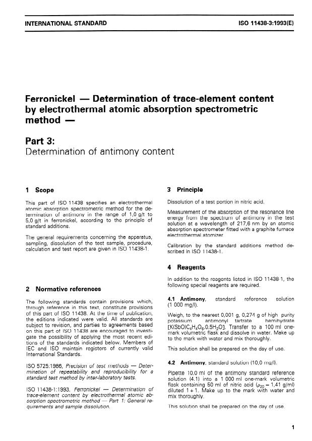 ISO 11438-3:1993 - Ferronickel -- Determination of trace-element content by electrothermal atomic absorption spectrometric method