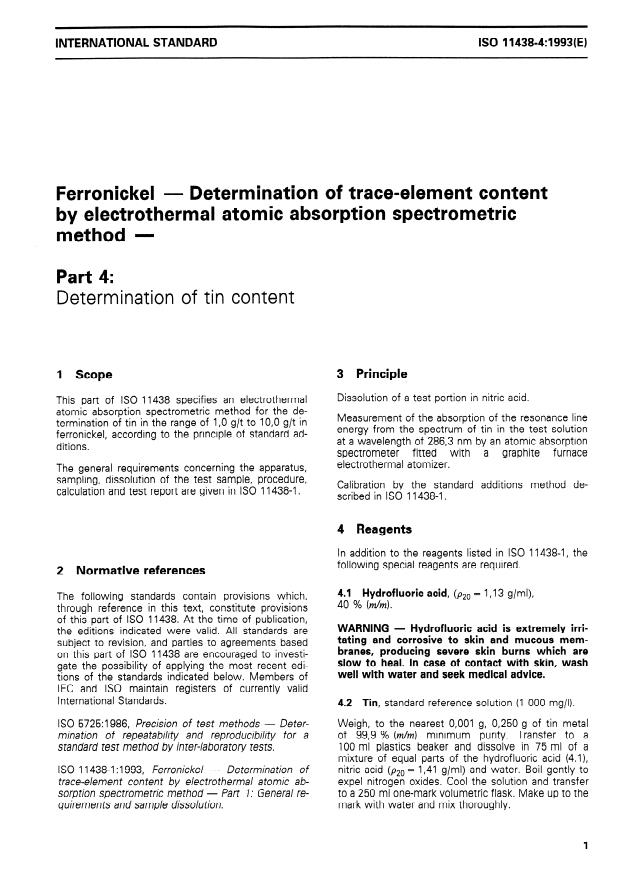 ISO 11438-4:1993 - Ferronickel -- Determination of trace-element content by electrothermal atomic absorption spectrometric method