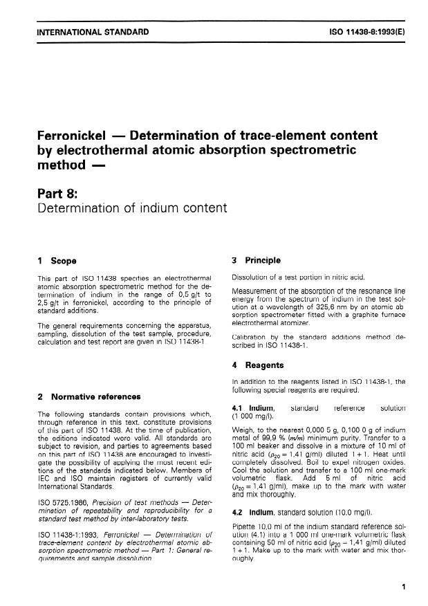 ISO 11438-8:1993 - Ferronickel -- Determination of trace-element content by electrothermal atomic absorption spectrometric method