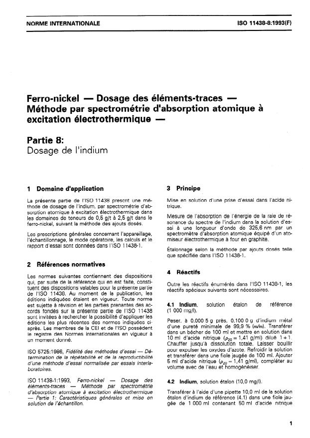 ISO 11438-8:1993 - Ferro-nickel -- Dosage des éléments-traces -- Méthode par spectrométrie d'absorption atomique a excitation électrothermique