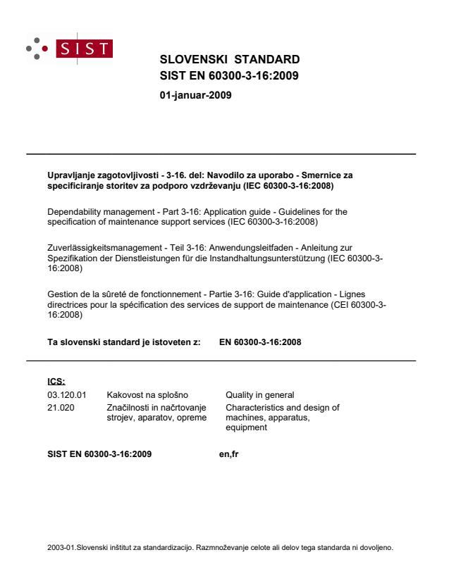 EN 60300-3-16:2009