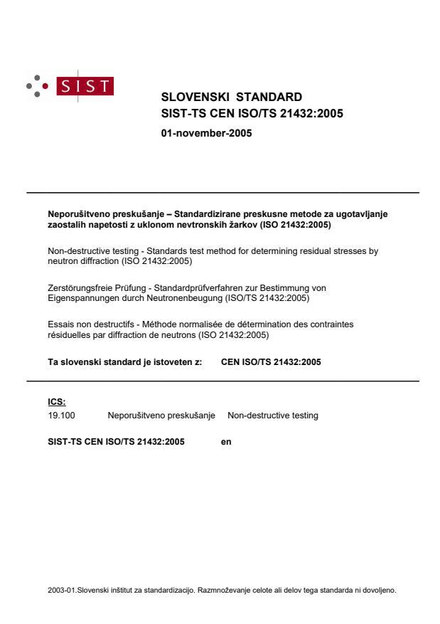SIST-TS CEN ISO/TS 21432:2005
