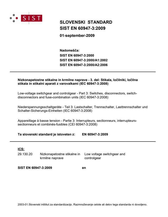 SIST EN 60947-3:2009