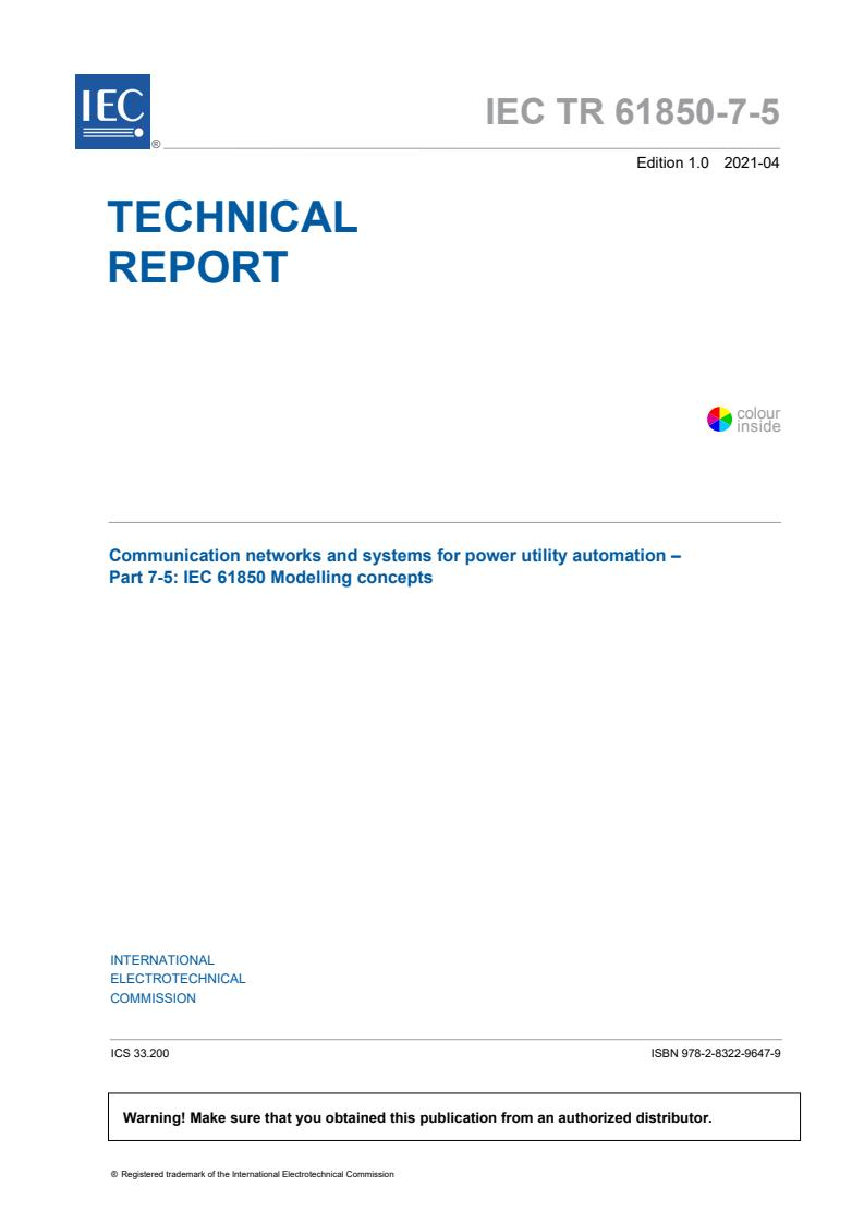 IEC TR 61850-7-5:2021 - Communication networks and systems for power utility automation - Part 7-5: IEC 61850 modelling concepts