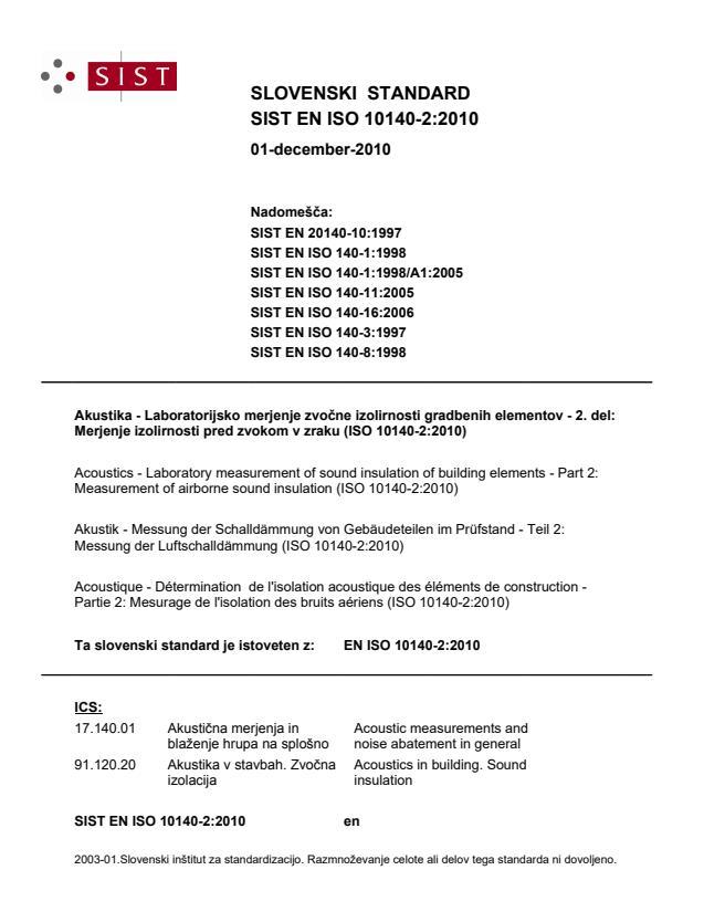 SIST EN ISO 10140-2:2010 - na naslovnici SIST manjka ICS 91.060.01 zaradi premalo prostora (preveč razveljavitev)