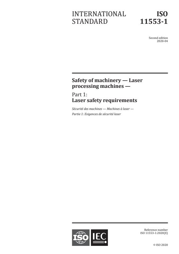 ISO 11553-1:2020 - Safety of machinery - Laser processing machines - Part 1: Laser safety requirements