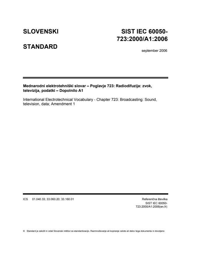IEC 60050-723:2000/A1:2006 - ICS na naslovnici ni popravljen