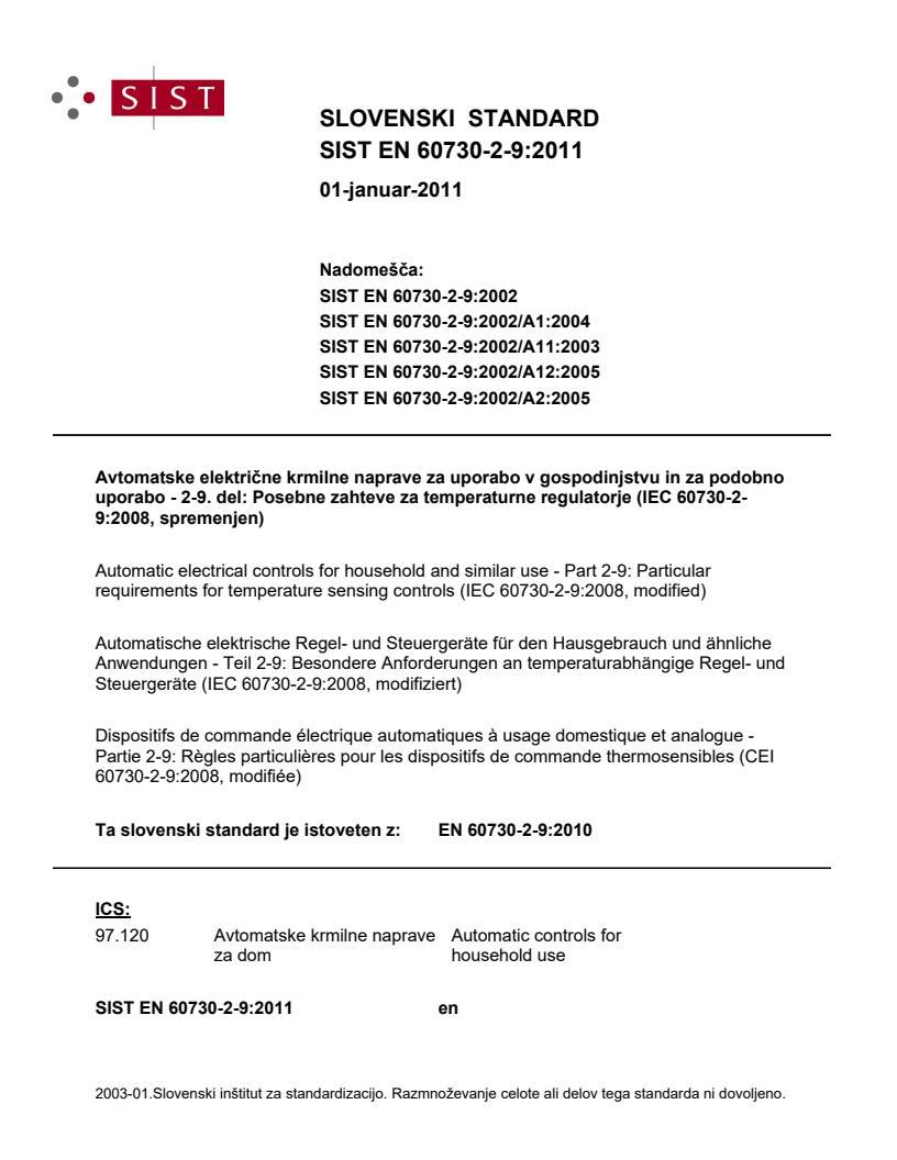 SIST EN 60730-2-9:2011