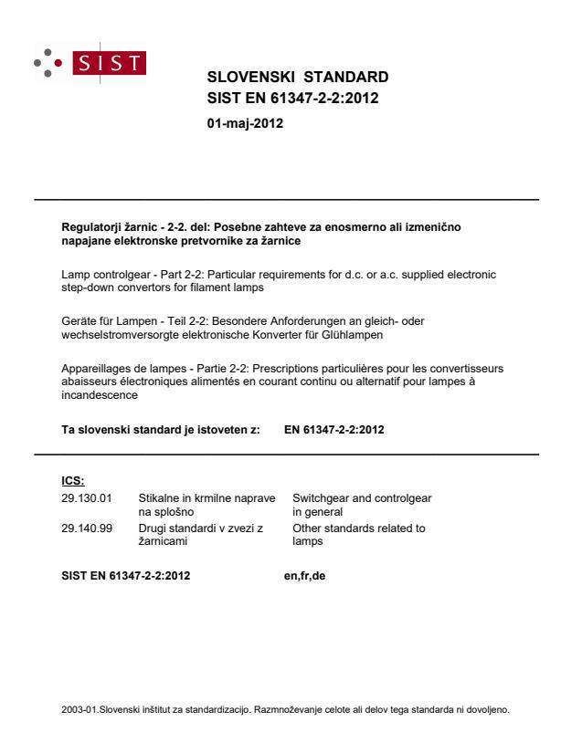 SIST EN 61347-2-2:2012