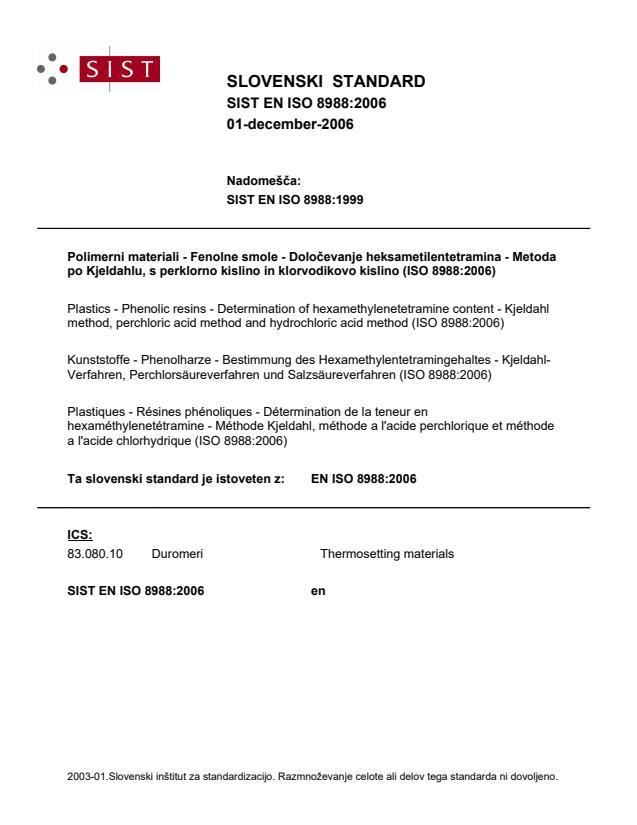 SIST EN ISO 8988:2006 - natisnjeno za čitalnico