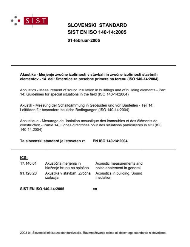 SIST EN ISO 140-14:2005