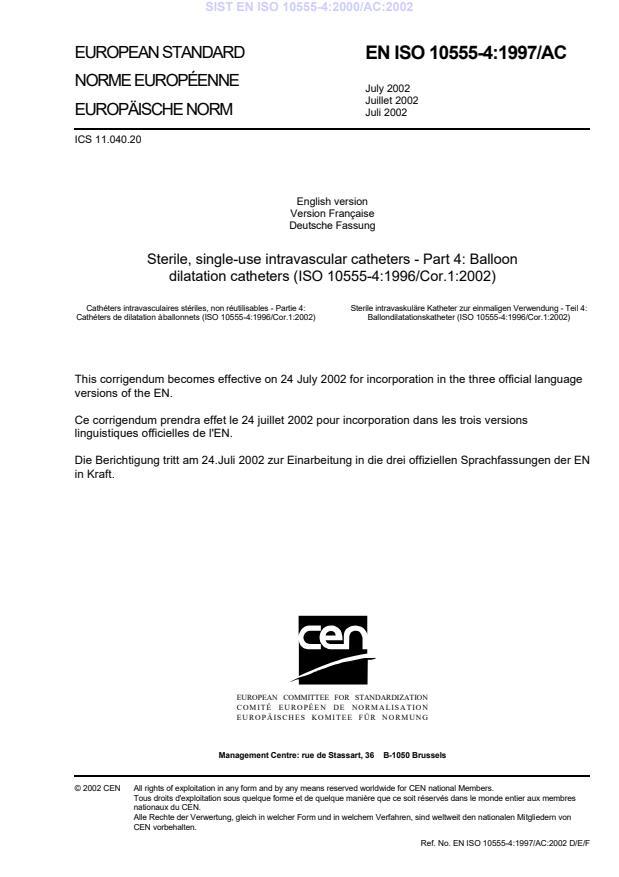 EN ISO 10555-4:2000/AC:2002
