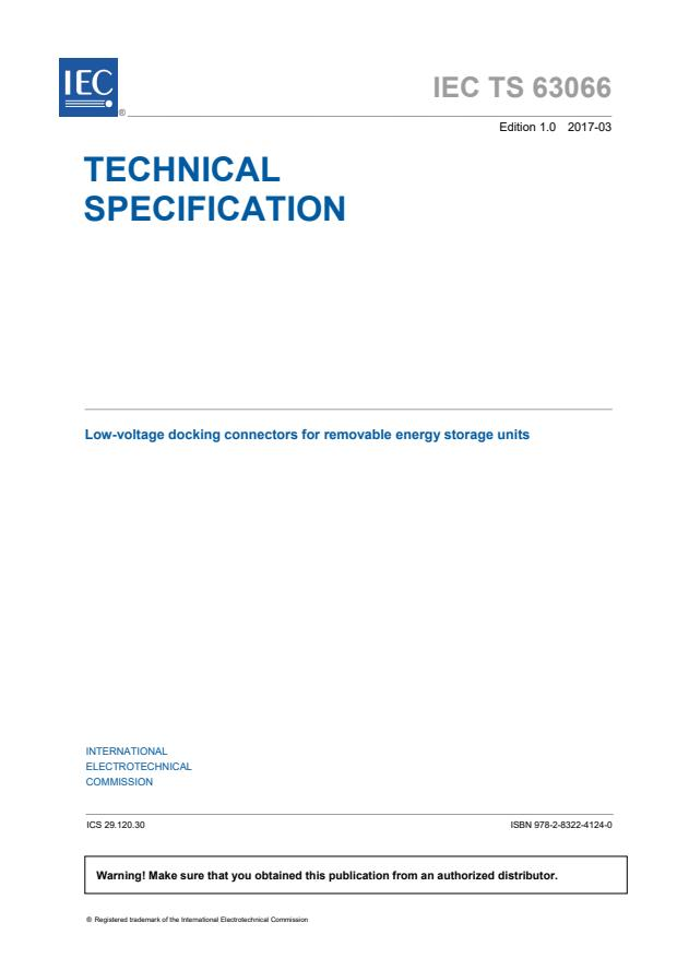 IEC TS 63066:2017 - Low-voltage docking connectors for removable energy storage units