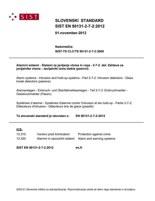 SIST EN 50131-2-7-2:2012