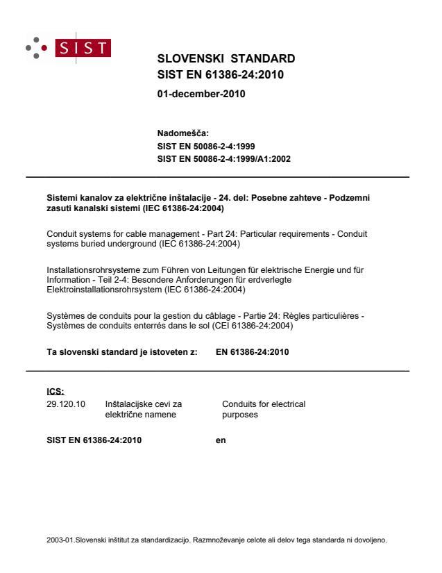 EN 61386-24:2010 - Standard je bil natisnjen za čitalnico.