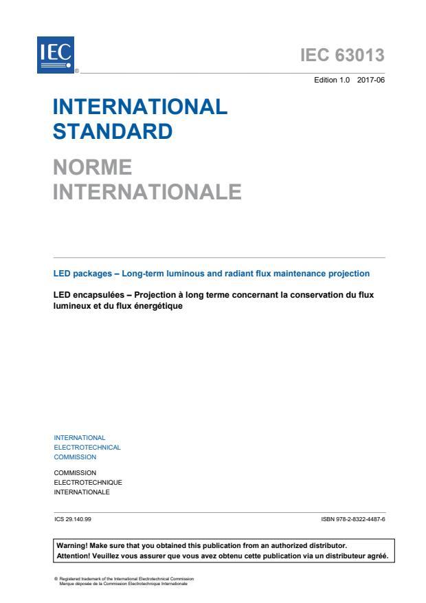 IEC 63013:2017 - LED packages - Long-term luminous and radiant flux maintenance projection