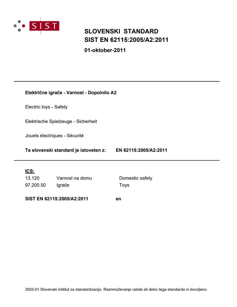 SIST EN 62115:2005/A2:2011 - natisnjeno za čitalnico