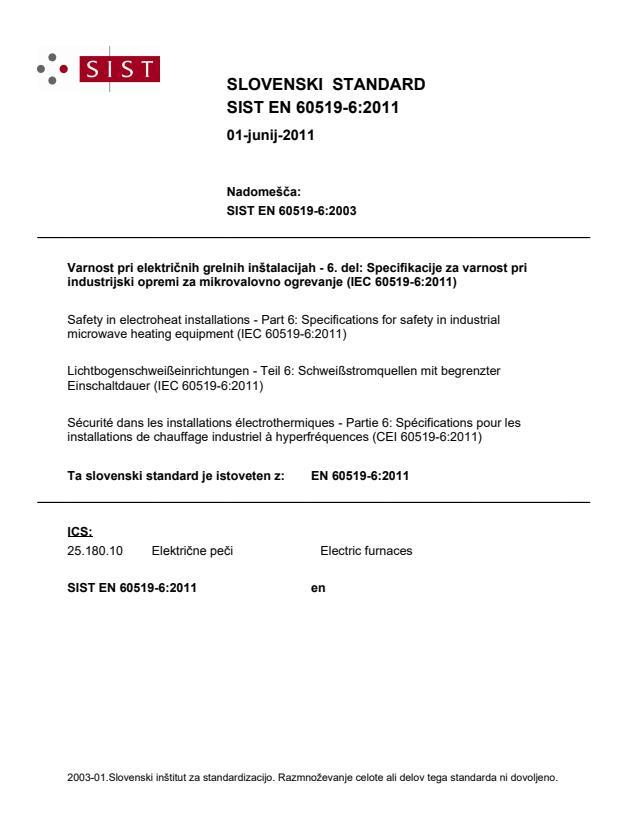 SIST EN 60519-6:2011