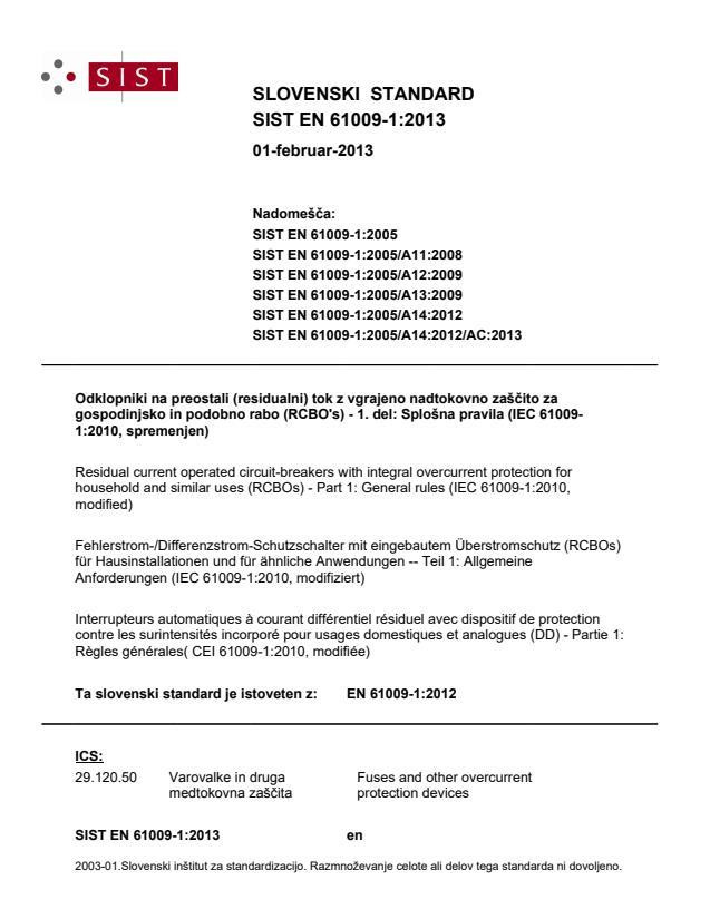 SIST EN 61009-1:2013 - natisnjeno za čitalnico
