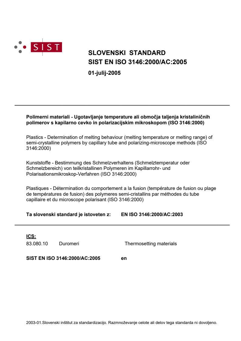 SIST EN ISO 3146:2000/AC:2005