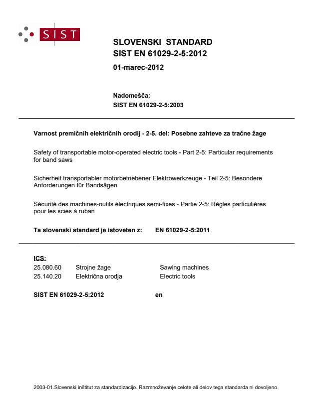 SIST EN 61029-2-5:2012