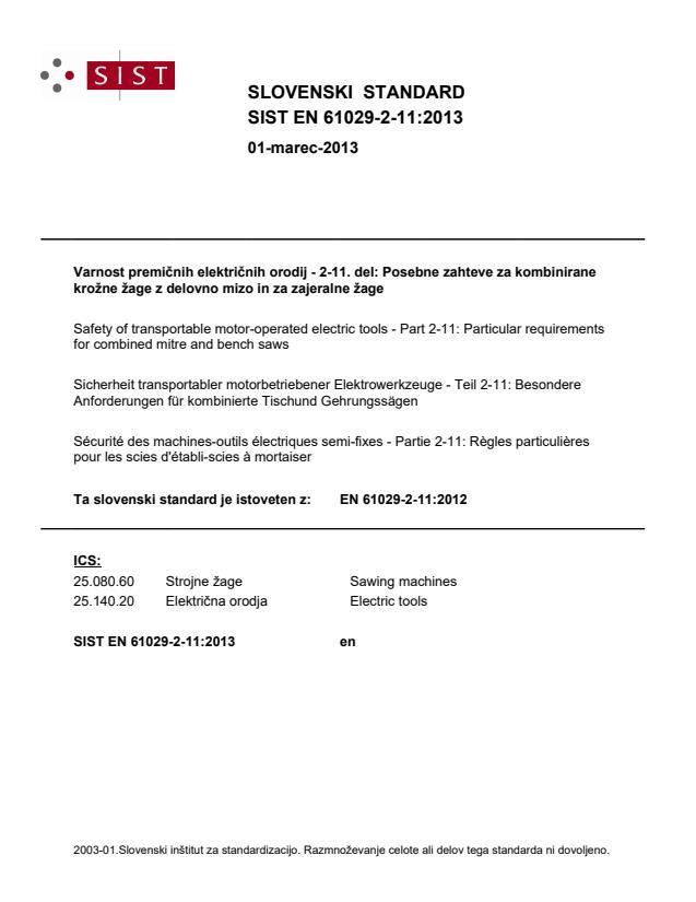 SIST EN 61029-2-11:2013
