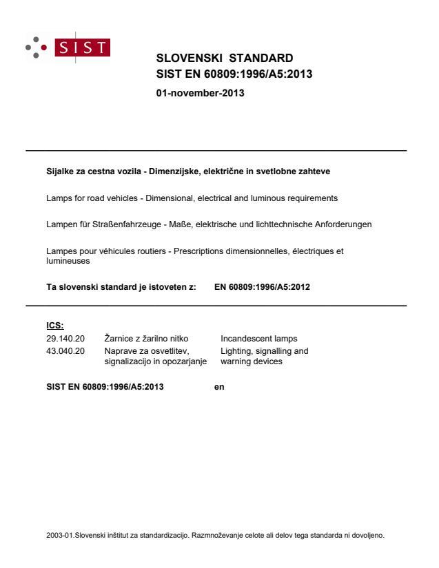 SIST EN 60809:1996/A5:2013