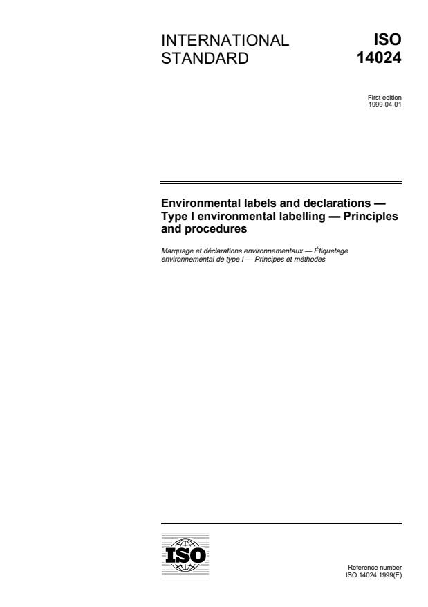 ISO 14024:1999 - Environmental labels and declarations -- Type I environmental labelling -- Principles and procedures