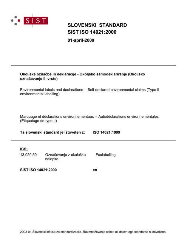 SIST ISO 14021:2000