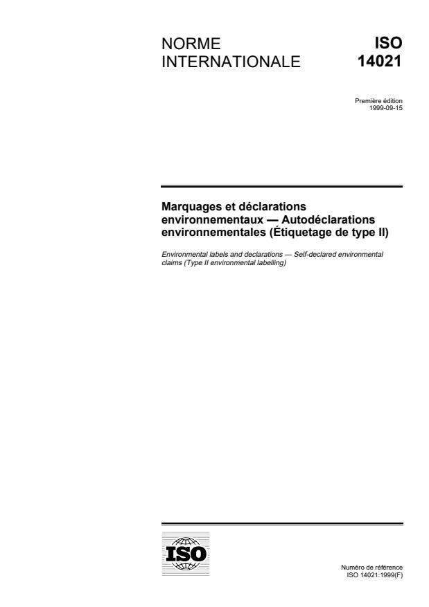 ISO 14021:1999 - Marquage et déclarations environnementaux -- Autodéclarations environnementales (Étiquetage de type II)