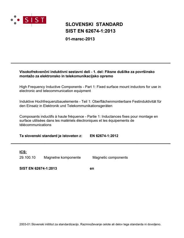 SIST EN 62674-1:2013