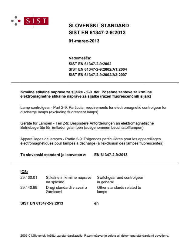 SIST EN 61347-2-9:2013