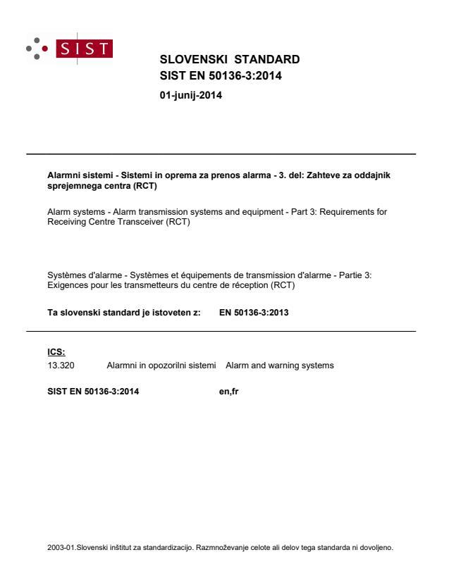 SIST EN 50136-3:2014