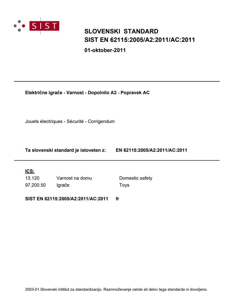EN 62115:2005/A2:2011/AC:2011