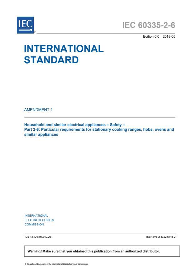 IEC 60335-2-6:2014/AMD1:2018