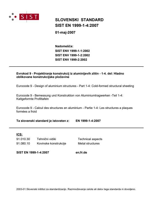 SIST EN 1999-1-4:2007